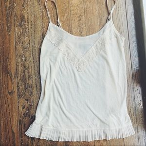 NWOT American Eagle Cream Pleated Lace Tank Top